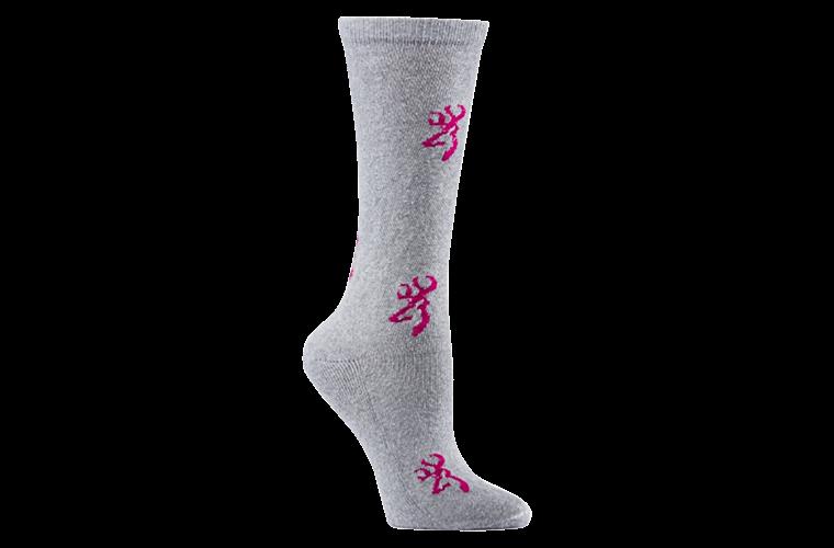 Browning Womens Sock Buckmark Grey/Pink